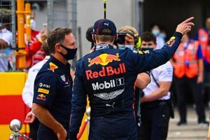 Max Verstappen, Red Bull Racing, en Christian Horner