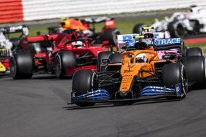 Lando Norris, McLaren MCL35, Lance Stroll, Racing Point RP20, Sebastian Vettel, Ferrari SF1000, and Esteban Ocon, Renault F1 Team R.S.20