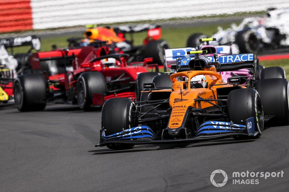 Lando Norris, McLaren MCL35, Lance Stroll, Racing Point RP20, Sebastian Vettel, Ferrari SF1000, Esteban Ocon, Renault F1 Team R.S.20
