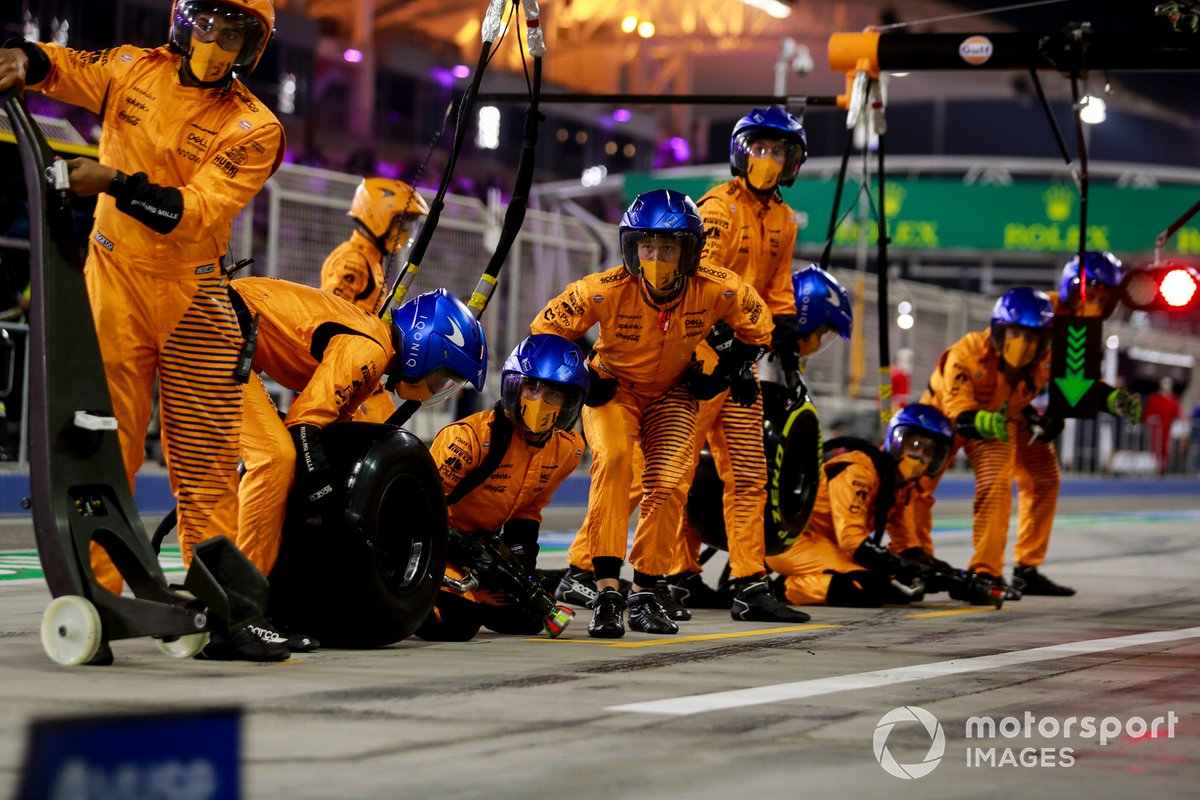 The McLaren pit crew ready for a stop