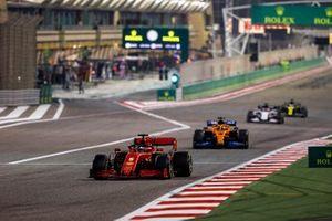 Sebastian Vettel, Ferrari SF1000, Carlos Sainz Jr., McLaren MCL35, and Daniil Kvyat, AlphaTauri AT01
