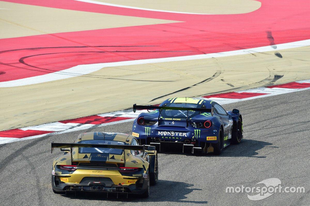 #46 Kessel Racing Monster VR46, Ferrari 488 GT3: Valentino Rossi, Alessio Salucci, Luca Marini, #67 Dinamic Motorsport, Porsche 911 GT3R: Roberto Pampanini, Mauro Calamia, Stefano Monaco