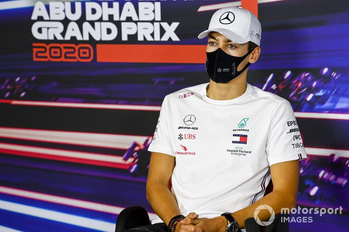 George Russell, Mercedes-AMG F1 en la conferencia de prensa