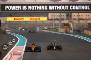 Lando Norris, McLaren MCL35, Alex Albon, Red Bull Racing RB16, as sparks fly