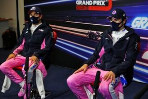 Sergio Perez, Racing Point, and pole man Lance Stroll, Racing Point, in the post Qualifying Press Conference