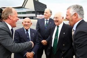 Johnny Herbert, Sir Stirling Moss, John Watson, Murray Walker and Derek Warwick at Silverstone Wing official opening