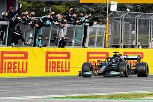 Lewis Hamilton, Mercedes W12 crosses the finish line