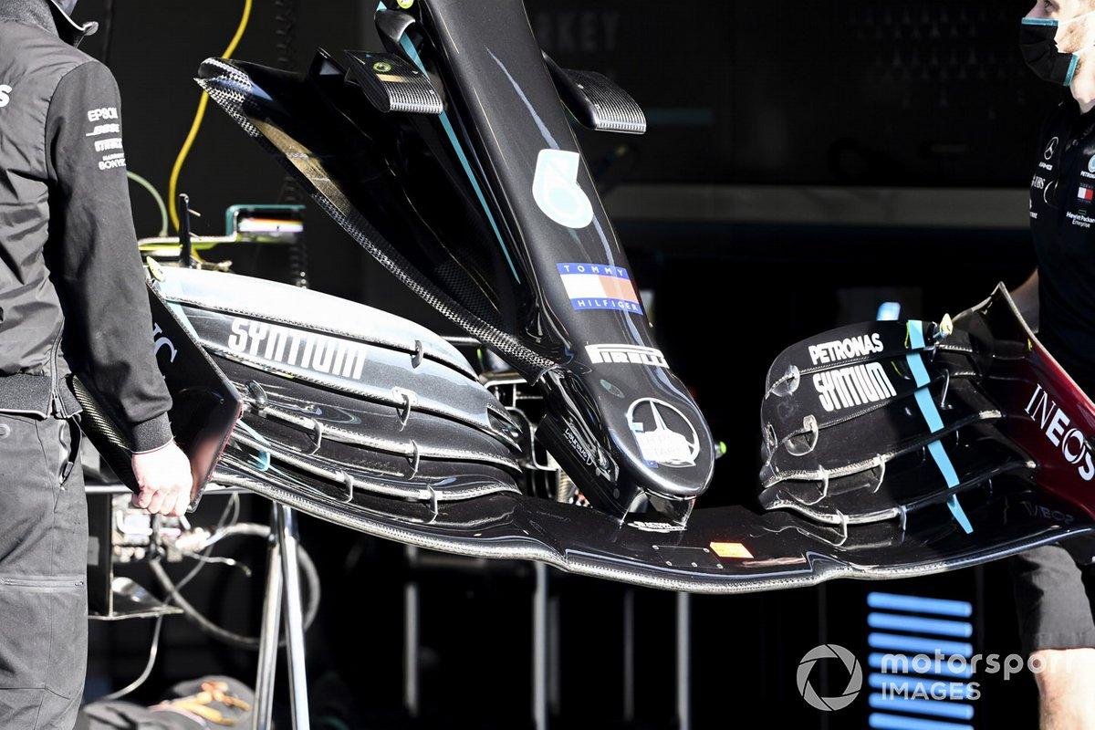 El alerón delantero del Mercedes F1 W11