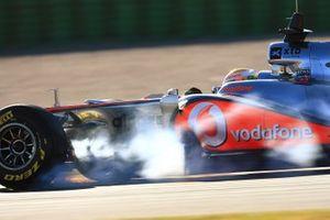 Lewis Hamilton, McLaren fait un blocage de roue