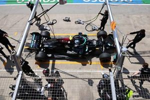 Valtteri Bottas, Mercedes W12, makes a stop
