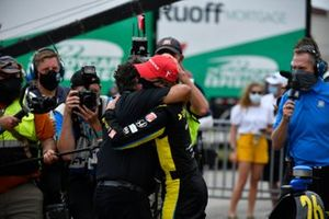 Colton Herta, Andretti Autosport Honda, receives hug from team owner Michael Andretti.