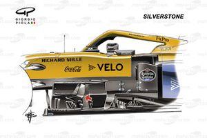 McLaren MCL35 le barge boards al GP di Gran Bretagna