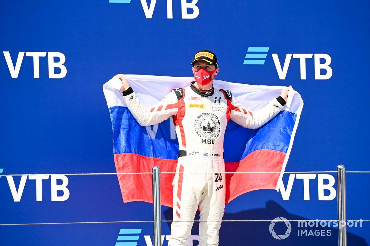 Nikita Mazepin, Hitech Grand Prix festeggia sul podio