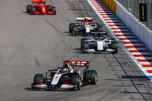 Romain Grosjean, Haas VF-20, Daniil Kvyat, AlphaTauri AT01, Antonio Giovinazzi, Alfa Romeo Racing C39, and Sebastian Vettel, Ferrari SF1000
