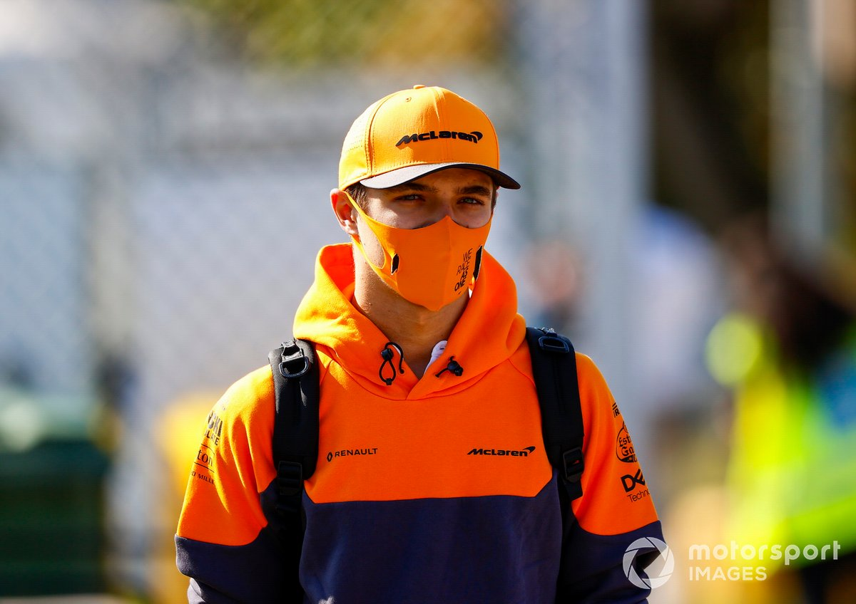 Lando Norris, McLaren, walks the tracks