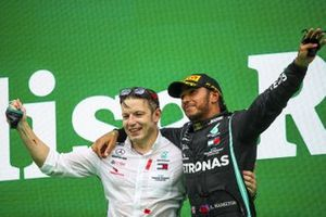 Peter Bonnington, Race Engineer, Mercedes AMG and Race winner Lewis Hamilton, Mercedes-AMG F1 celebrates on the podium with the chamapgne and the trophy after taking his 92nd Grand Prix win, the most for any driver in F1 history