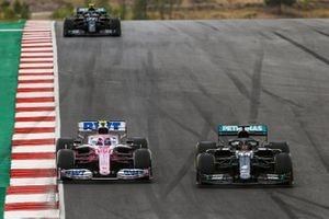 Lewis Hamilton, Mercedes F1 W11, Lance Stroll, Racing Point RP20, and Valtteri Bottas, Mercedes F1 W11