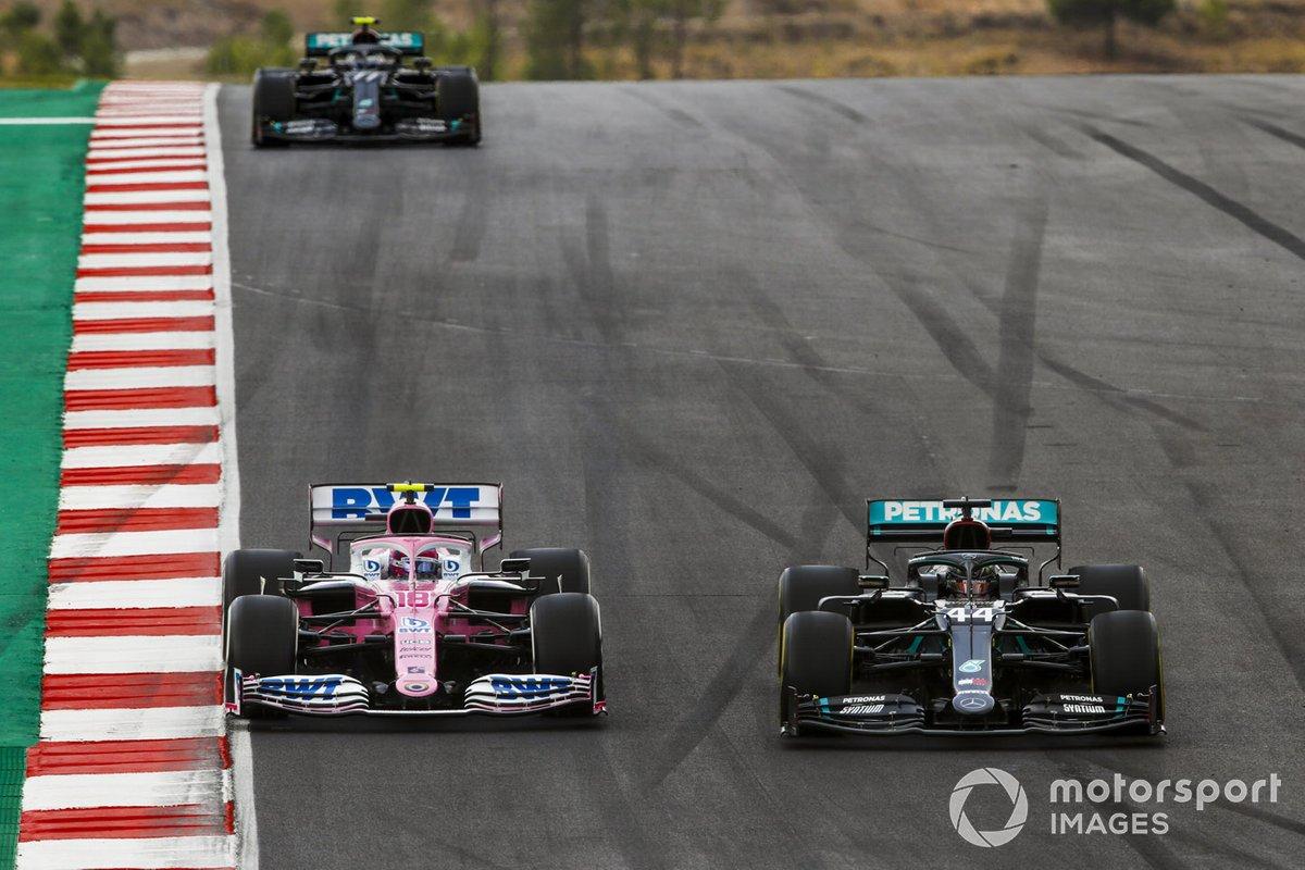 Lewis Hamilton, Mercedes F1 W11, Lance Stroll, Racing Point RP20, e Valtteri Bottas, Mercedes F1 W11
