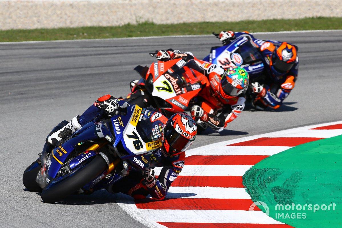 Loris Baz, Ten Kate Racing Yamaha, Chaz Davies, ARUBA.IT Racing Ducati, Garrett Gerloff, GRT Yamaha