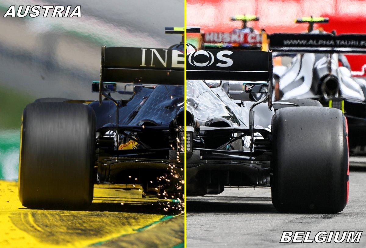 Mercedes F1 W11 confronto del retrotreno tra Austria e Belgio