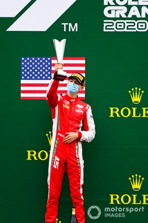 Race Winner Logan Sargeant, Prema Racing celebrates on the podium with the trophy