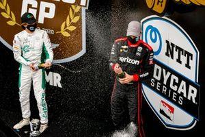 Will Power, Team Penske Chevrolet celebrates winning the Harvest GP Race 2, Colton Herta, Andretti Harding Steinbrenner Autosport Honda