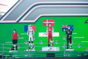 Theo Pourchaire, ART Grand Prix, Race Wiiner Frederik Vesti, Prema Racing and Oscar Piastri, Prema Racing on the podium