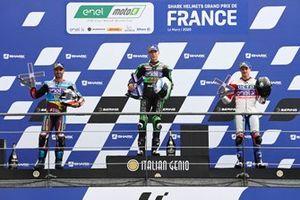 Niki Tuuli, Avant Ajo MotoE, Mike di Meglio, EG 0,0 Marc VDS, Josh Hook, OCTO Pramac MotoE sur le podium