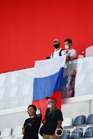 A Russian fan celebrates a win for Nikita Mazepin, Hitech Grand Prix