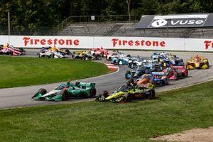Colton Herta, Andretti Harding Steinbrenner Autosport Honda, Santino Ferrucci, Dale Coyne Racing with Vasser Sullivan Honda, start, crash