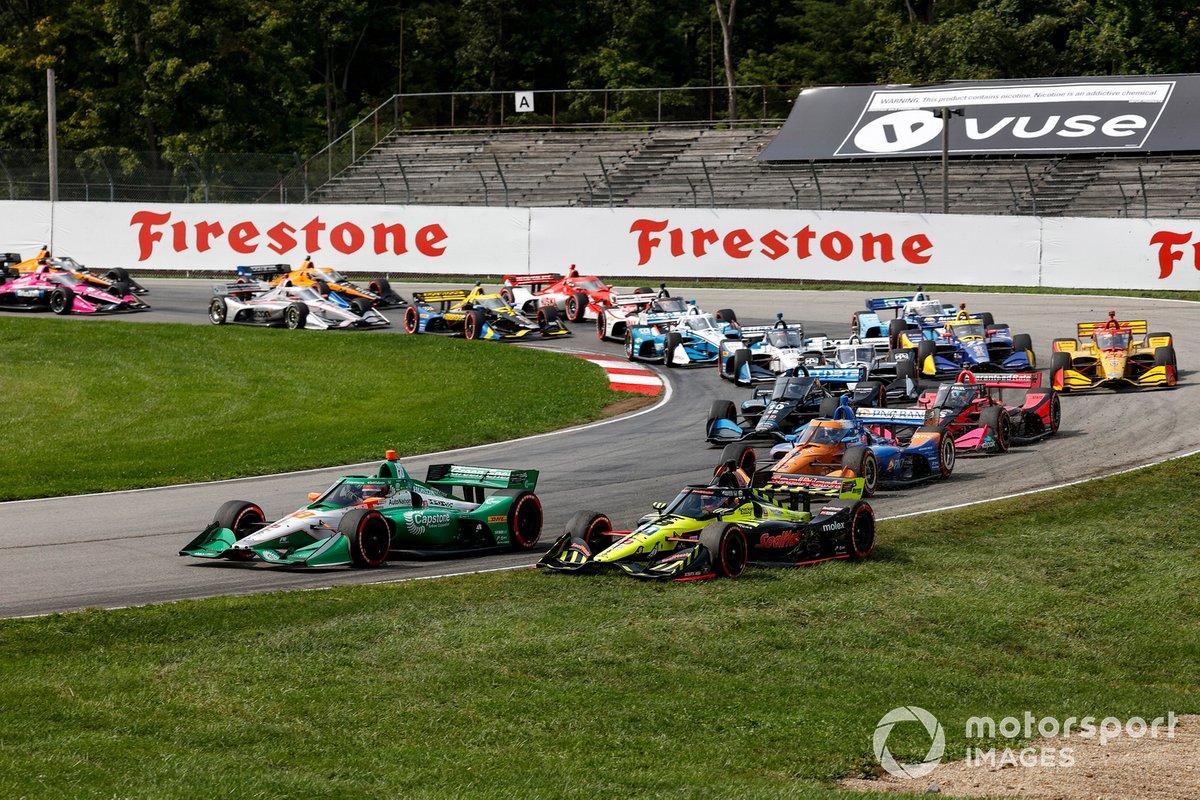 Inicio Colton Herta, Andretti Harding Steinbrenner Autosport Honda, Santino Ferrucci, Dale Coyne Racing with Vasser Sullivan Honda, chocan