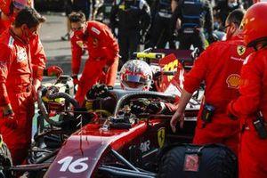 Charles Leclerc, Ferrari, in the pits