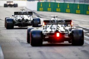 Valtteri Bottas, Mercedes F1 W11, Lewis Hamilton, Mercedes F1 W11, out of the pits