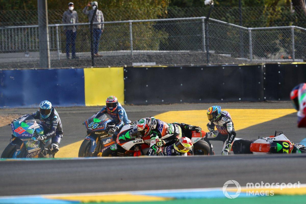 Caída de Niccolo Canepa, LCR E-Team, Xavier Simeon, LCR E-Team, Dominique Aegerter, Dynavolt Intact GP