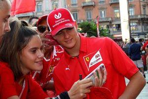 Mick Schumacher with Ferrari fans