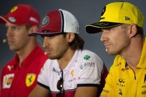 Nico Hulkenberg, Renault F1 Team, Antonio Giovinazzi, Alfa Romeo Racing and Sebastian Vettel, Ferrari in the Press Conference