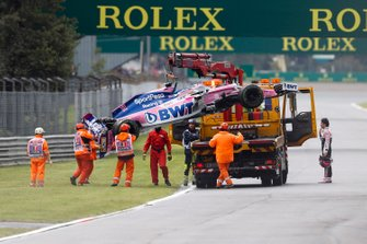 Car of Sergio Perez, Racing Point RP19 being recovered after crashing in FP1