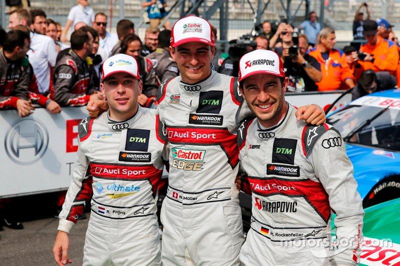 Top 3 después de la carrera 1, ganador de la carrera Nico Müller, Audi Sport Team Abt Sportsline, Robin Frijns, Audi Sport Team Abt Sportsline, Mike Rockenfeller, Audi Sport Team Phoenix