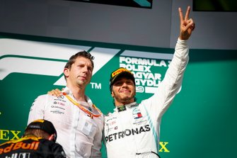 James Vowles, Motorsport Strategy Director, Mercedes AMG F1 and Race winner Lewis Hamilton, Mercedes AMG F1 celebrate on the podium