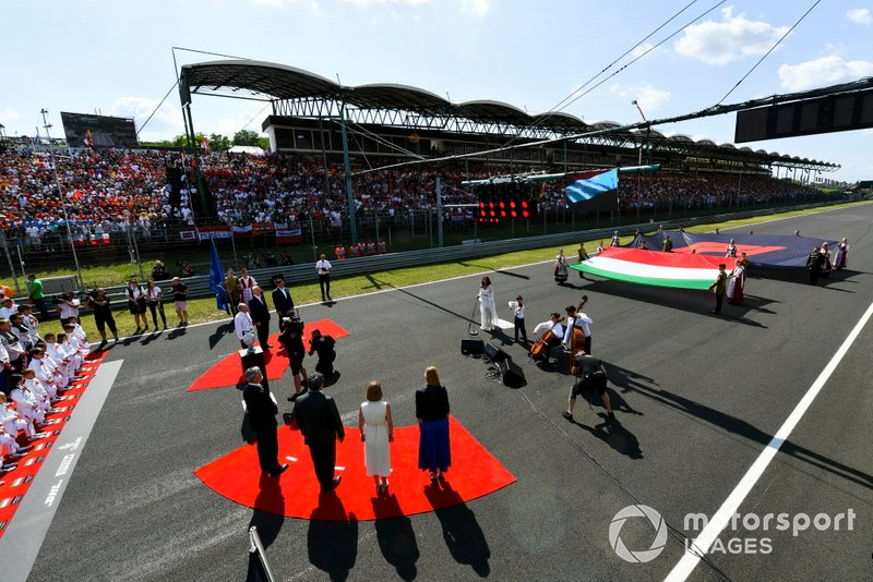 The Hungarian national anthem is played as part of the pre race grid celebrations