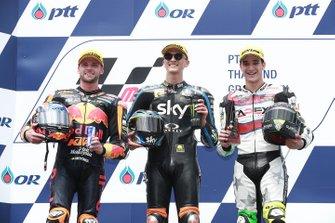 Podio: il vincitore della gara Luca Marini, Sky Racing Team VR46, secondo classificato Brad Binder, KTM Ajo, terzo classificato Iker Lecuona, American Racing KTM