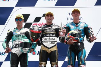 Podium: race winner Albert Arenas, Ángel Nieto Team, second place Lorenzo Dalla Porta, Leopard Racing, third place Alonso Lopez, Estrella Galicia 0,0