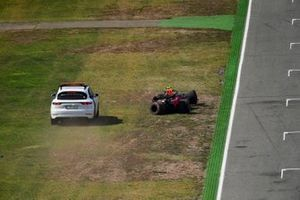 A car arrives at the scene after Pierre Gasly, Red Bull Racing RB15, crashes out