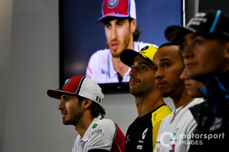 George Russell, Williams Racing, Lewis Hamilton, Mercedes AMG F1, Daniel Ricciardo, Renault F1 Team and Antonio Giovinazzi, Alfa Romeo Racing in the Press Conference