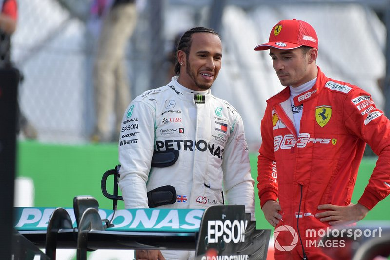 Pole Sitter Charles Leclerc, Ferrari and Lewis Hamilton, Mercedes AMG F1 in Parc Ferme
