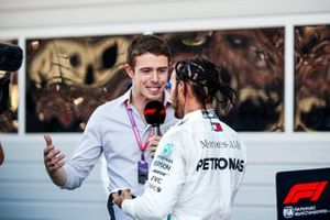 Lewis Hamilton, Mercedes AMG F1, 1st position, is interviewed in Parc Ferme by Paul di Resta, Sky Sports F1