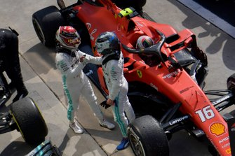 Lewis Hamilton, Mercedes AMG F1, 3rd position, and Valtteri Bottas, Mercedes AMG F1, 2nd position, in Parc Ferme