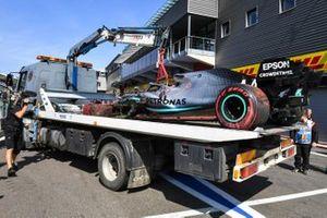Car of Lewis Hamilton, Mercedes F1 AMG W10 after his crash