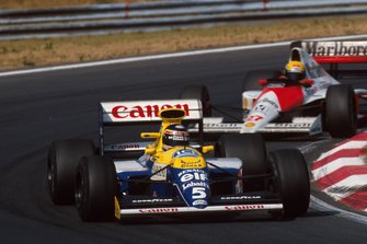 Thierry Boutsen, Williams FW13B; Ayrton Senna, McLaren MP4/5B