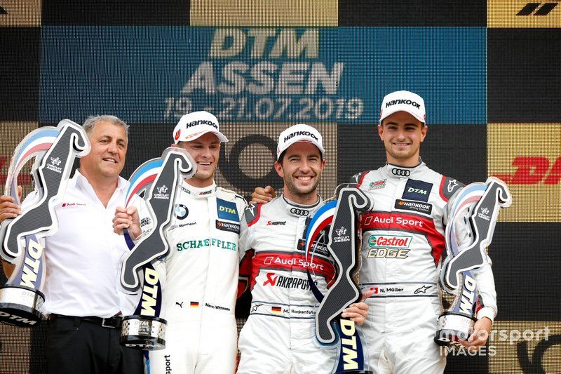Podium: Race winner Mike Rockenfeller, Audi Sport Team Phoenix, second place Marco Wittmann, BMW Team RMG, third place Nico Müller, Audi Sport Team Abt Sportsline, Ernst Moser, Audi Sport Team Phoenix